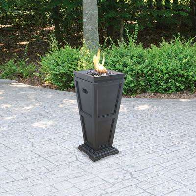11.8 in. W x 11.8 in. D LP Gas Fire Pit with Electronic Ignition and Black Fire Glass
