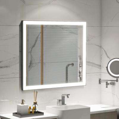 31.50 in. W x 35.40 in. H Frameless Single Bathroom LED Lighting Mirror