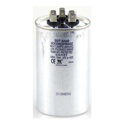 440-Volt 50/10 MFD Dual Rated Motor Run Round Capacitor