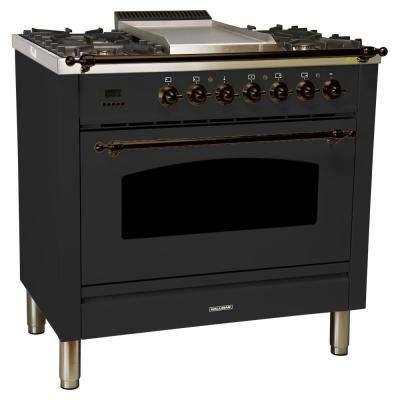 36 in. 3.55 cu. ft. Single Oven Dual Fuel Italian Range True Convection,5 Burners, LP Gas, Bronze Trim/Matte Graphite