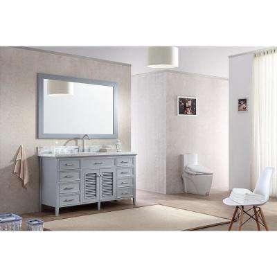 Kensington 61 in. Bath Vanity in Grey with Marble Vanity Top in Carrara White with White Basin