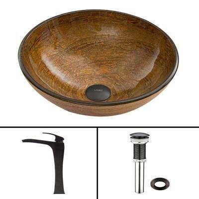 Glass Vessel Sink in Cappuccino Swirl and Blackstonian Faucet Set in Antique Rubbed Bronze