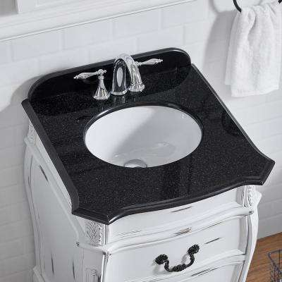 Mayfair 22.44 in. W x 22.06 in. D Vanity in Antique White with Granite Vanity Top in Black with White Basin