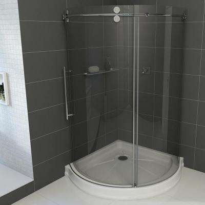 Sanibel 40.5 in. x 79.5 in. Frameless Bypass Shower Enclosure in Stainless Steel and Left Base