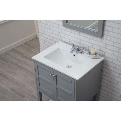 Johnston 24 in. Single Bathroom Vanity with 1-Shelf 2-Doors Porcelain Top Porcelain Sink in Grey Finish
