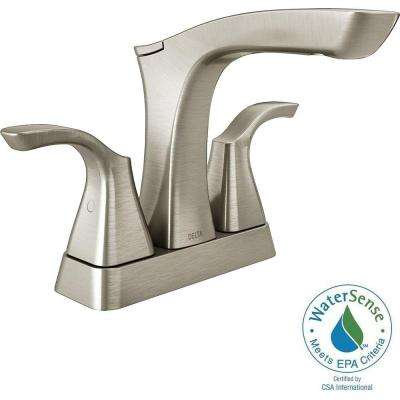 Tesla 4 in. Centerset 2-Handle Bathroom Faucet in Stainless with Metal Drain Assembly