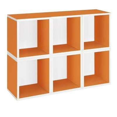zBoard 6-Cubes Eco Cubby Organizer, Tool-Free Assembly Modular Storage Cubes in Orange