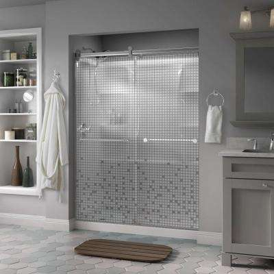 Mandara 60 in. x 71 in. Semi-Frameless Contemporary Sliding Shower Door in Chrome with Mozaic Glass