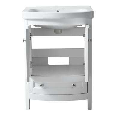 Montresor 24 in. W x 34 in. H Bath Vanity in Rich White with Ceramic Vanity Top in White with White Basin and Mirror