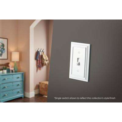 Architectural Wood Decorative Switch and Rocker Switch Plate, White
