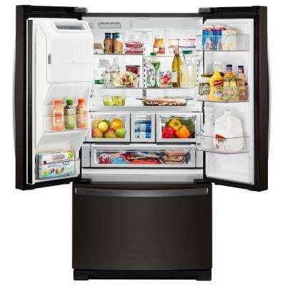 27 cu. ft. French Door Refrigerator in Fingerprint Resistant Black Stainless
