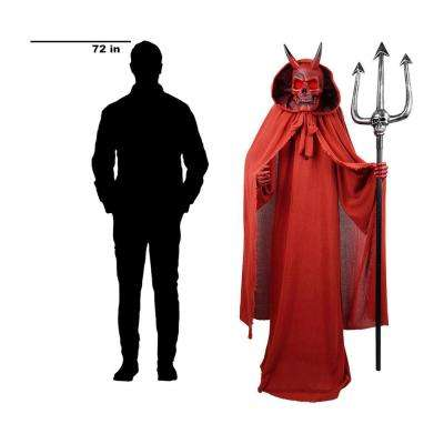 72 in. Animated Skeleton Devil in Red Cloak with Pitch Fork