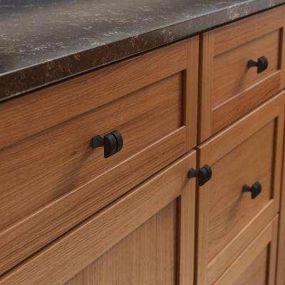 Warm Industrial 1-1/8 in. (28mm) Matte Black Square Cabinet Knob