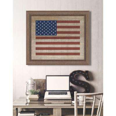 "29 in. x 23 in. ""American Flag on Distressed Linen"" Framed Giclee Print Wall Art"