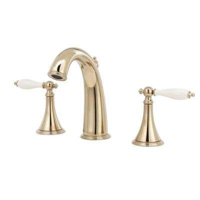 Finial 8 in. Widespread 2-Handle High-Arc Bathroom Faucet in Vibrant French Gold with Biscuit Inserts-DISCONTINUED