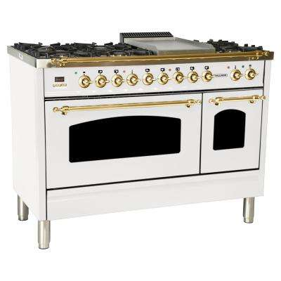 48 in. 5.0 cu. ft. Double Oven Dual Fuel Italian Range with True Convection, 7 Burners, Griddle, Brass Trim in White