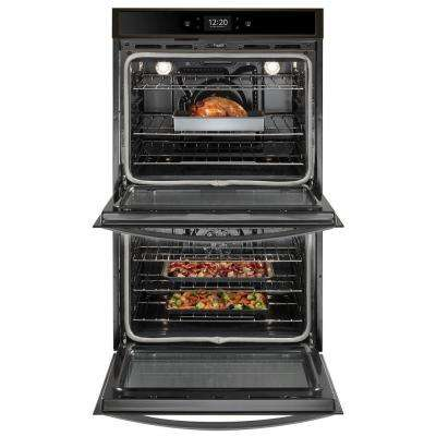 30 in. Smart Double Electric Wall Oven with True Convection Cooking in Fingerprint Resistant Black Stainless Steel