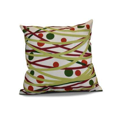 16 in. Doodle Decorations Green Pillow