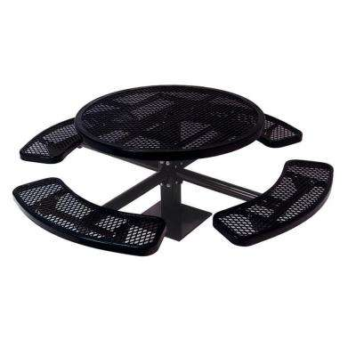 46 in. Diamond Black Commercial Park Round Table Surface Mount