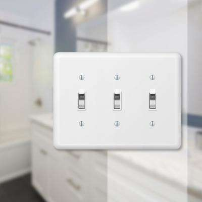 Declan 3 Gang Toggle Steel Wall Plate - White