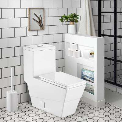12 in. Rough-In 1-Piece 1.28 GPF Single Flush Square Toilet in White, Seat Included