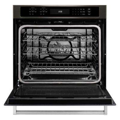 30 in. Single Electric Wall Oven Self-Cleaning with Convection in Black Stainless