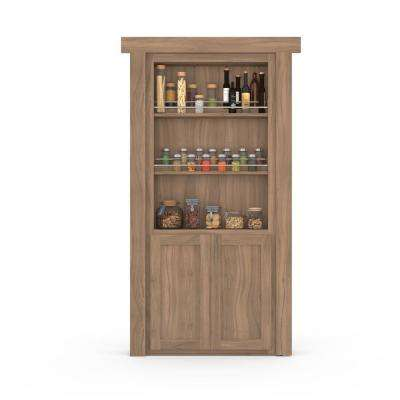 36 in. x 80 in. Flush Mount Assembled Forward Pantry Door Walnut Unfinished Right-Hand Outswing