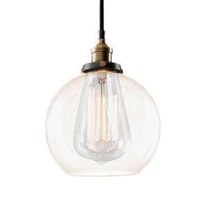 Edison Maisie Collection 1-Light Black Clear Glass Indoor Pendant