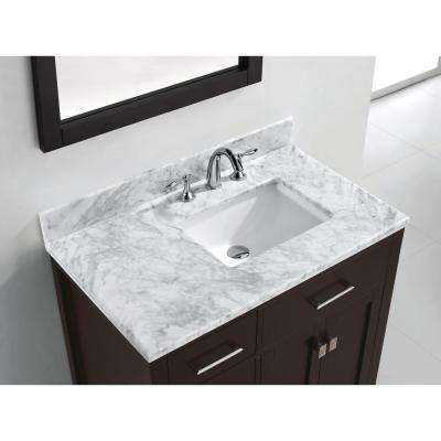 Caroline Parkway 36 in. W Bath Vanity in Espresso with Marble Vanity Top in White with Square Basin and Mirror