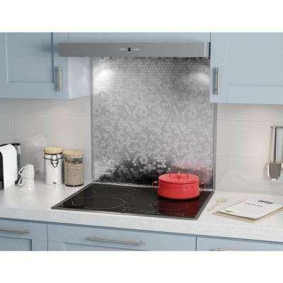 Hexagonia Stainless 29.61 in. x 30.47 in. x 5 mm Metal Self-Adhesive Range Backsplash Mosaic Tile (6.26 sq. ft.)