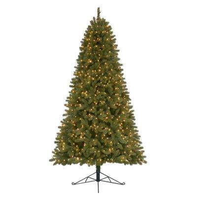 7 ft. Pre-Lit Shaw Valley PE/PVC Artificial Christmas Half Tree x 1304 Tips with 450 UL Indoor Clear Lights