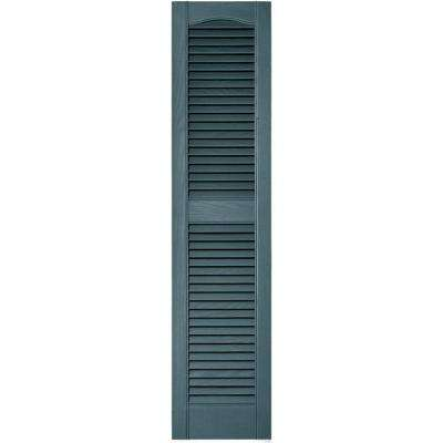 12 in. x 52 in. Louvered Vinyl Exterior Shutters Pair in #004 Wedgewood Blue