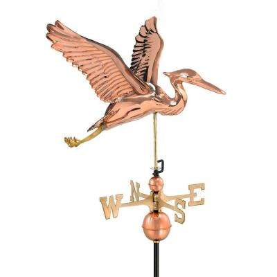 Polished Copper Blue Heron Weathervane