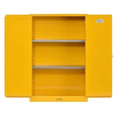 65 in. H x 43 in.W x 18 in. D Steel Freestanding Flammable Liquid Safety Double-Door Cabinet in Yellow