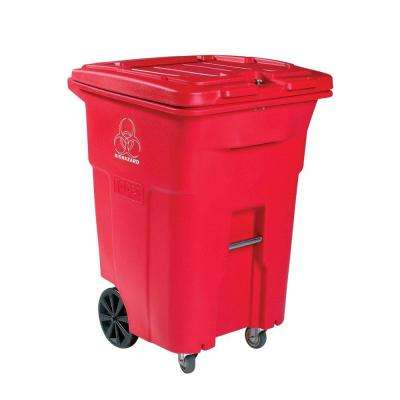 96 Gal. Red Wheeled Regulated Medical Waste Trash Can with Casters