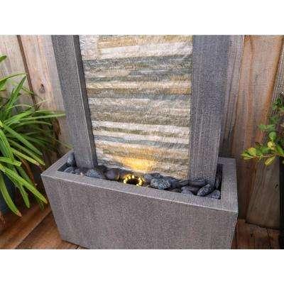 Gantry 48 in. Gray Slate Floor Fountain