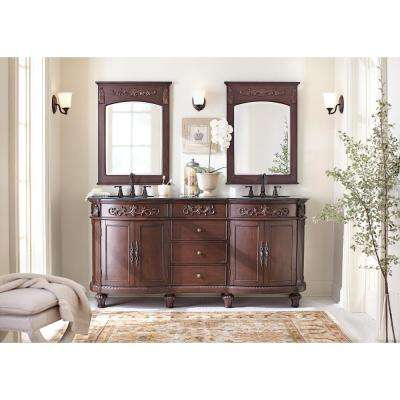 Chelsea 72 in. W Double Bath Vanity in Antique Cherry with Granite Vanity Top in Black