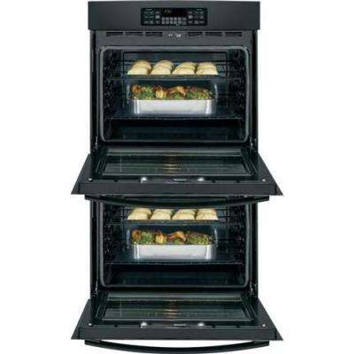 30 in. Double Electric Wall Oven Self-Cleaning with Steam in Black