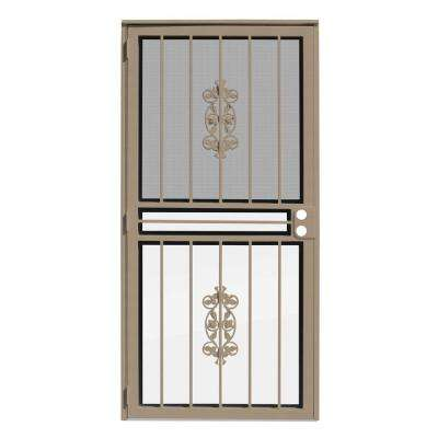 36 in. x 80 in. Rambling Rose Tan Recessed Mount All Season Security Door with Insect Screen and Glass Inserts
