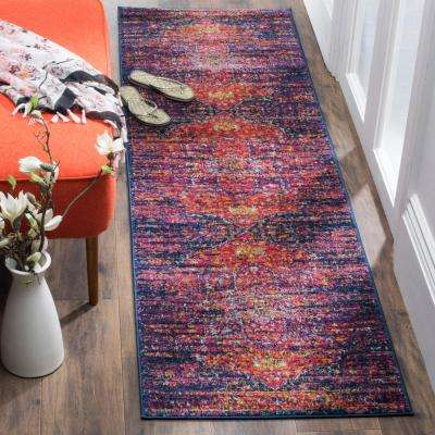 Evoke Blue/Fuchsia 2 ft. 2 in. x 19 ft. Runner Rug