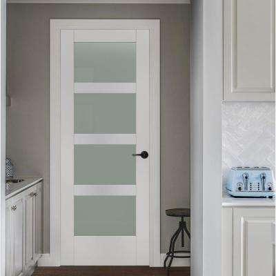 36 in. x 80 in. MODA Primed PMT1044 Solid Core Wood Interior Door Slab w/Translucent Glass