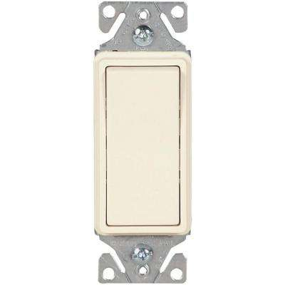 15 Amp 120-277-Volt Heavy-Duty Grade 3-Way Decorator Lighted Rocker Switch with Back and Push Wire, Light Almond
