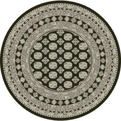 Ancient Garden Charcoal/Silver 5 ft. 3 in. Round Area Rug