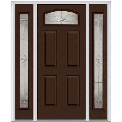 64 in. x 80 in. Master Nouveau Right-Hand 1/4 Lite Classic Painted Fiberglass Smooth Prehung Front Door with Sidelites