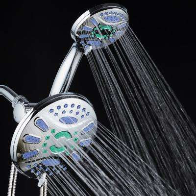 Antimicrobial 48-Spray 7 in. High Pressure 3-Way Dual Rain Shower Head and Handheld Shower Head Combo in Chrome