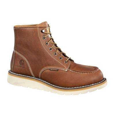 Men's Tan Leather Waterproof Moc-Toe Wedge Soft Toe Lace-up Work Boot