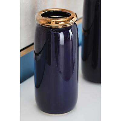 11 in. Urn-Shaped Glazed Blue Ceramic Metal Decorative Vase