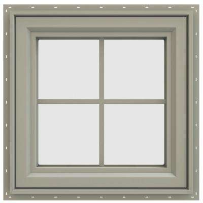 23.5 in. x 23.5 in. V-4500 Series Left-Hand Casement Vinyl Window with Grids - Tan