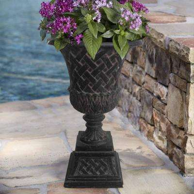 16.25 in. x 26.5 in. Cast Stone Lattice Urn and Pedestal in Aged Charcoal