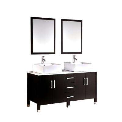 Barakiel 60 in. Double Vanity in Espresso with Marble Vanity Top in White and Mirror